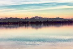 The Rocky Mountains as viewed across Barr Lake enjoying the last rays of morning light.