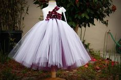 White and Eggplant Underlay Flower Girl Tutu Dress