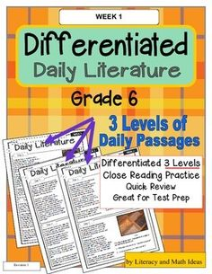 Differentiated Daily Literature Practice Grade 6 (Week 1)--This is the ultimate in differentiated instruction.  Below-level, on-level, and above grade level students practice closely reading text and review literary skills at their own levels. Quick, daily review.