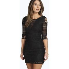Boohoo Night Mia All Over Lace Panelled Bodycon Dress ($44) ❤ liked on Polyvore featuring dresses, black, sequin dress, black tuxedo, black sequin cocktail dress, sequin cocktail dresses and black party dresses