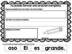 Oraciones mezcladas. (Mixed up Sentences in Spanish)- Scrambled/ Revueltas