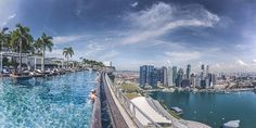 Stare out at Singapore's skyline while taking a dip in the incredible infinity pool at the Marina Bay Sands hotel. Beautiful Places To Travel, Beautiful Hotels, Jacuzzi, Marina Bay Sands, Sands Hotel Singapore, Travel Around The World, Around The Worlds, Landscape And Urbanism, Rooftop Pool
