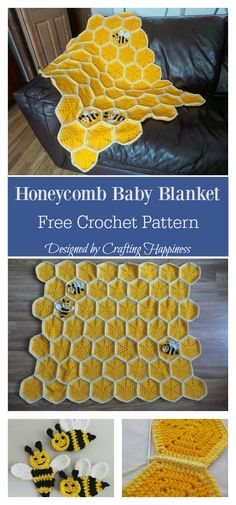 Crochet Afghan Patterns Bee Happy Honeycomb Baby Blanket Free Crochet Pattern - With this Honeycomb Baby Blanket Free Crochet Pattern, you can make a lovely hand crocheted blanket for your own little one or someone you love. Crochet Bee, Crochet Simple, Crochet Gratis, Crochet Motifs, Afghan Crochet Patterns, Knitting Patterns, Crochet Baby Blanket Beginner, Baby Girl Crochet Blanket, Crochet Baby Booties