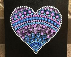 New pointillism art projects dot painting etsy ideas Heart Painting, Dot Art Painting, Mandala Painting, Painting Patterns, Mandala Painted Rocks, Mandala Rocks, Mandala Art Lesson, Art Mandala, Coloring Canvas