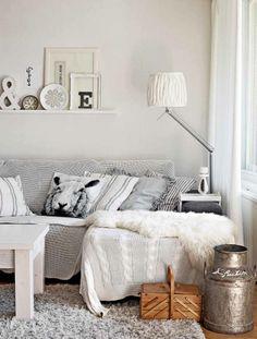 White and gray interior #livingroom