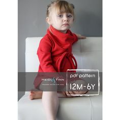 Cowl Neck Jumper Dress pattern and tutorial PDF 12m-6T EASY SEW tunic dress sweater