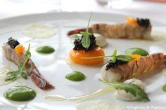 Caviar Perlita d'Aquitaine, fine feuille de bintj confite, mascarpone au citron vert, jaune d'oeuf crémeux et chips croustillante - Le Saint James, Bouliac
