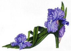 Items similar to Needlepoint Canvas Handpainted Purple Iris Slipper on on Etsy Purple Wisteria, Purple Iris, Needlepoint Designs, Needlepoint Canvases, Needlepoint Kits, Free Machine Embroidery Designs, Diy Embroidery, Cross Stitch Flowers, Cross Stitch Patterns