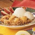 Prairie Apple Crisp --- Delicious and easy.  No rolled crust needed.  Instead, use your own flour, butter, and brown sugar for crunchy topping.