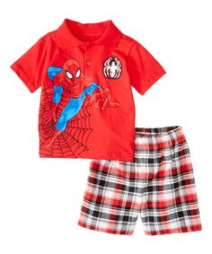 Love this Red Ultimate Spider-Man Polo & Shorts - Toddler by Children's Apparel Network on #zulily! #zulilyfinds