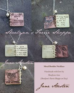 Pride and Prejudice Mini Metal Book Necklace by ShealynnsFaerie