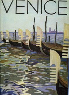 Vintage Travel Poster Venice Italy circa 1933