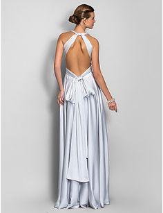 Vestido com Decote em V Longo de Cetim – BRL R$ 239,37