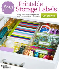 Tons of printable storage labels-- inspiration from BHG and free printables (with tips and the Avery label#). AWESOME!