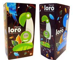 Loro lamp Packaging by Jeanine Lin, via Behance