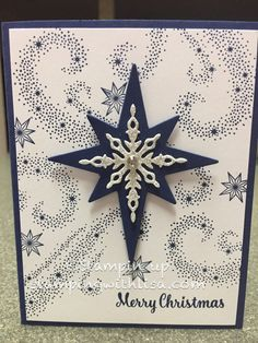 Hey everyone! Here is a card that I recently did in one of my classes. I used the Star of Light stamp set and matching thinlits found on pg 9 in the Holiday mini catalog. I love, love, love the swi…