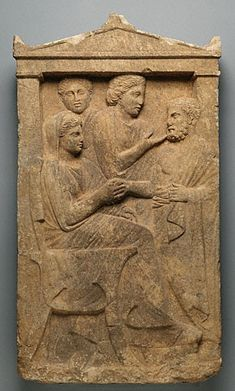 "Marble Gravestone of Sime; Greek, Athens, c. 320 B.C.; 52"" x 29"" x 6-3/4""; Getty Museum, Malibu"