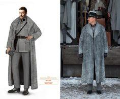 Boceto e imagen del uniforme y abrigo del Inspector Henckels, diseñado por…