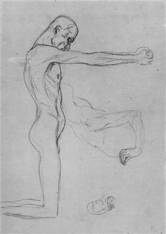 Kneeling Male Nude With Sprawled Out Arms, Male Torso - Gustav Klimt