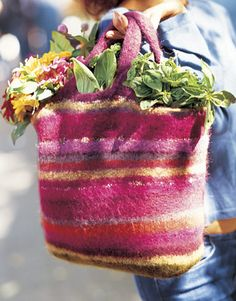 """Felting Wool: A tried-and-true technique  Use up your leftover yarn to construct a one-of-a-kind striped bag. Felt the bag in the washing machine for a more durable tote. Full instructions.   What is Felting?  Felting occurs when a knitted shape is agitated in hot, soapy water. The wool shrinks and creates a tight mat. """"It's a way to make the fabric stronger,"""" explains Joelle Hoverson, owner of Purl, a New York City knit shop.  How to Felt  Fill your washing machine to the lowest fill line…"""