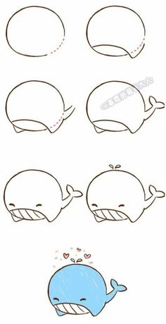 How to draw #whale step by step