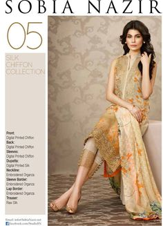 The collection includes shirt, dupatta and latest style trouser are added in ready to wear pattern. This Sobia Nazir collection has beautifully designed . Pakistani Casual Wear, Pakistani Outfits, Indian Outfits, Print Chiffon, Silk Chiffon, Ethnic Gown, Pakistani Couture, Indian Attire, Indian Wear
