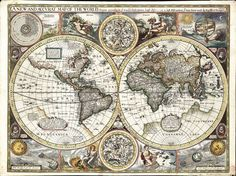 """""""'A New and Accurate Map of the World' of 1627 possibly by John Speed. Western North America north of Mexico a guess; A Strait of Anian at Bering Strait; Japan and other Pacific Islands distorted; Only the north coast of New Guinea; No Australia; Huge 'Southern Unknowne Land' in the south."""""""