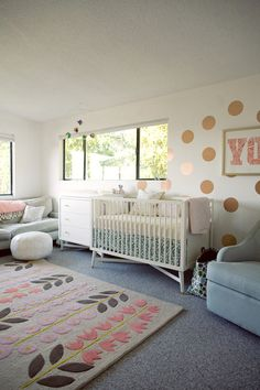 oh joy's nursery .. cool furniture & gold wall
