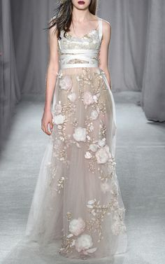 3D Silk Ribbon Rose Empire Waist Gown by Marchesa