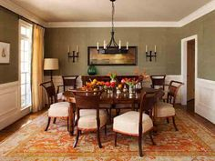 Traditional Dining Room with Chandelier and Vintage Chairs : Designers' Portfolio : HGTV - Home & Garden Television