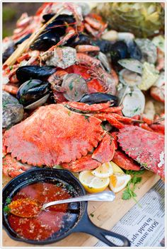 """Summer Seafood boil party  Is this evening considered summer yet? tomorrow?...how about """"Season-don't-matter Seafood Boil (as long as the seafood is in season of course)?"""