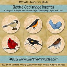 Printable Bottle Cap Images - Natures Birds $2.00