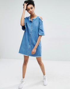 Image 4 of Liquor & Poker Tall Cold Shoulder Denim Dress With Extreme Frayed Edges