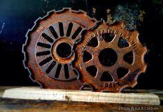 Antique Industrial Cast Iron Gear Sculpture Machine by IronAnarchy, $95.00