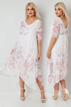 Großen Größen Abendkleider YOURS LONDON Weiß & Pink Blumenmuster Kleid