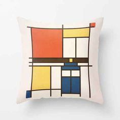 A Mondrian-inspired cushion for art lovers.