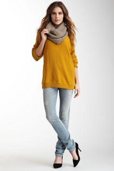 yellow sweatshirt + taupe scarf (AG)