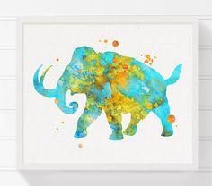 Mammoth Art Mammoth Print Watercolor Mammoth by MiaoMiaoDesign