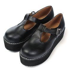 Black PU Leather T-Straps Platform Shoes