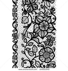 Abstract Lace Ribbon Vertical Seamless Pattern. Template frame design for card…