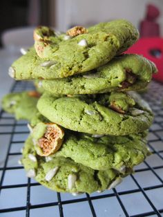 """Vegan Green Tea Cookies"" -- these look delicious! Perfect for St.Patty's Day."