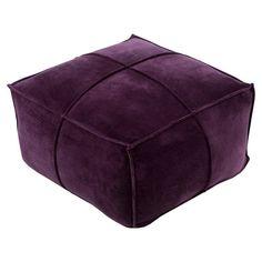 Surya Cotton Velvet Pouf Dark Purple - CVPF006-242413