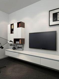 Room tv unit, small living rooms, living room designs, living room ideas, t Tv Unit Furniture, Home Furniture, Floating Bookshelves, Tv Decor, Home Decor, Home Theater Design, Rack, Kare Design, Living Room Designs