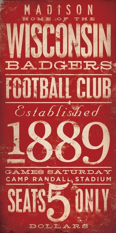 Wisconsin Badgers football typography graphic art by geministudio, $25.00