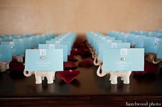 elephant place cards - cute, i think im going to do colours for table names to make things easier!