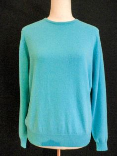 NWT CHARTER CLUB Sz Med TURQUOISE 100% 2 PLY CASHMERE SWEATER #CharterClub #Crewneck