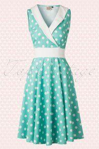 50s Good Times Polka Dot Dress in Mint