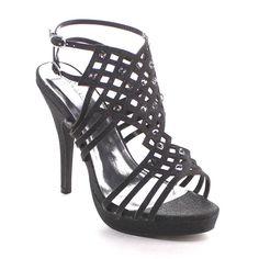 Beston Bb02 Women Cut Out Ankle Strap Stiletto Glitter Heels