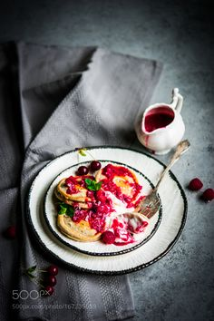 Pancakes with yogurt and raspberry sauce on rustic background by ehaurylik #food #yummy #foodie #delicious #photooftheday #amazing #picoftheday