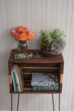 Orange roses and succulent arrangement on end table in the bedroom / bedside table. Looks like a wooden crate on legs. Orange Rose Bouquet, Orange Roses, Crate Furniture, Painted Furniture, Wooden Orange Crates, Crate End Tables, Rose Cottage, Design Your Home, Decoration